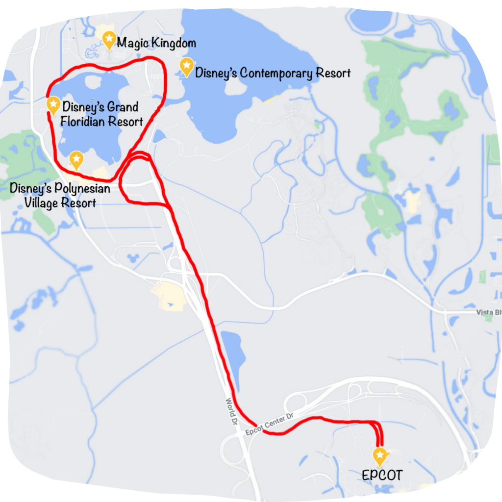 Map of Disney's monorail transit system.